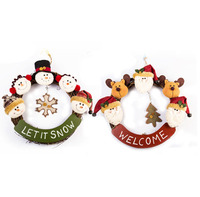door hanging santa christmas decoration moving christmas door decoration Wreath Santa Xmas Hanging Home Decoration