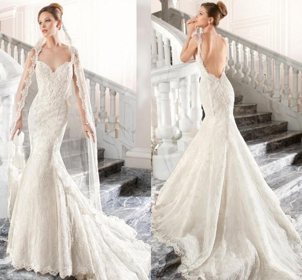 Garden Wedding Gowns: 2015 Romantic Mermaid Garden Wedding Dresses Lace Vintage