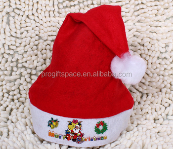 New Premium Red Traditional Pattern Polyester Xmas Cap Felt Santa