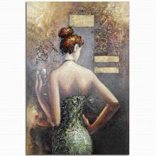 100% handmade abstract wall decor naked back hot sexy elegant girl oil painting