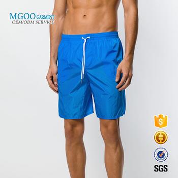 13a93fe140 Summer Men Beachwear Blue Color Boardshorts Plain Blank Swim Trunks Shiny Nylon  Swim Shorts