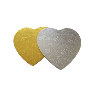 corrugated board paper type heart shaped cake boards golden cake drum for cake decoration