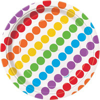 2016 Colorful Rainbow disposable Paper Plates Happy Birthday Party Pack