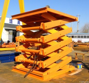 Hydraulic stationary pallet scissor type lift table