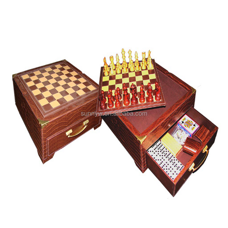 Alligator leather 6 in 1 multi game set