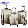 "PU printing 3pcs set 20""24""28"" custom logo Omaska brand China famous luggage factory"
