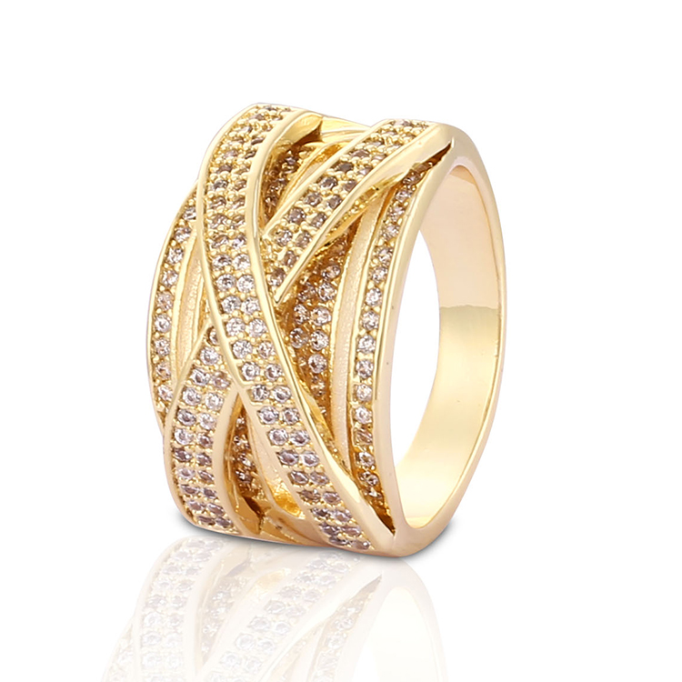 Fashion Latest Designs Gold Plated CZ Wedding Rings for Women ...
