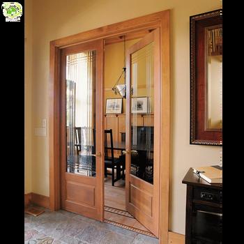 Commercial Double Glazed Oak Wood Glass Grill Doors Design Buy