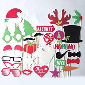get quotations christmas photo booth props hat mustache on a stick wedding birthday party favor good for fun