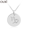 OUXI fashion series crystal Capricorn hang tag gift jewelry 10758 alloy rhodium necklace