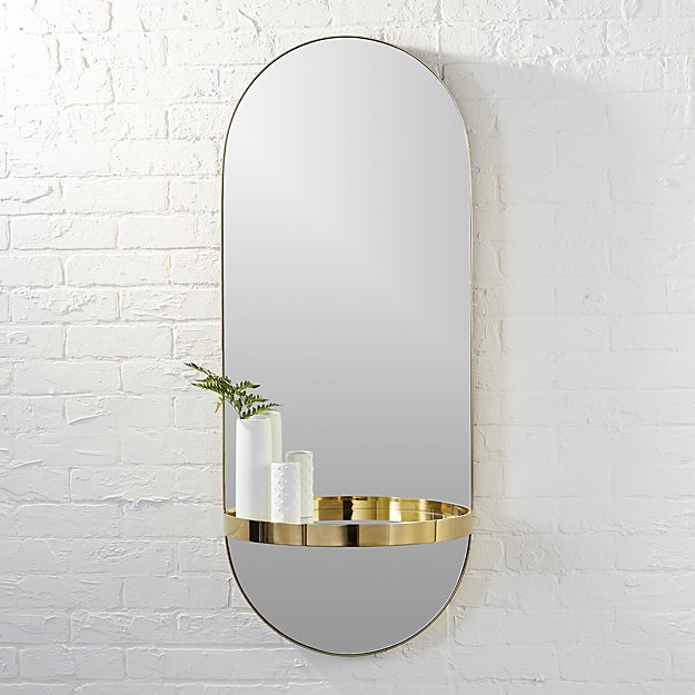 Caplet Oval Brass Stainless Steel Frame Mirror With Half Circle Shelf Vanity Wall Mirror