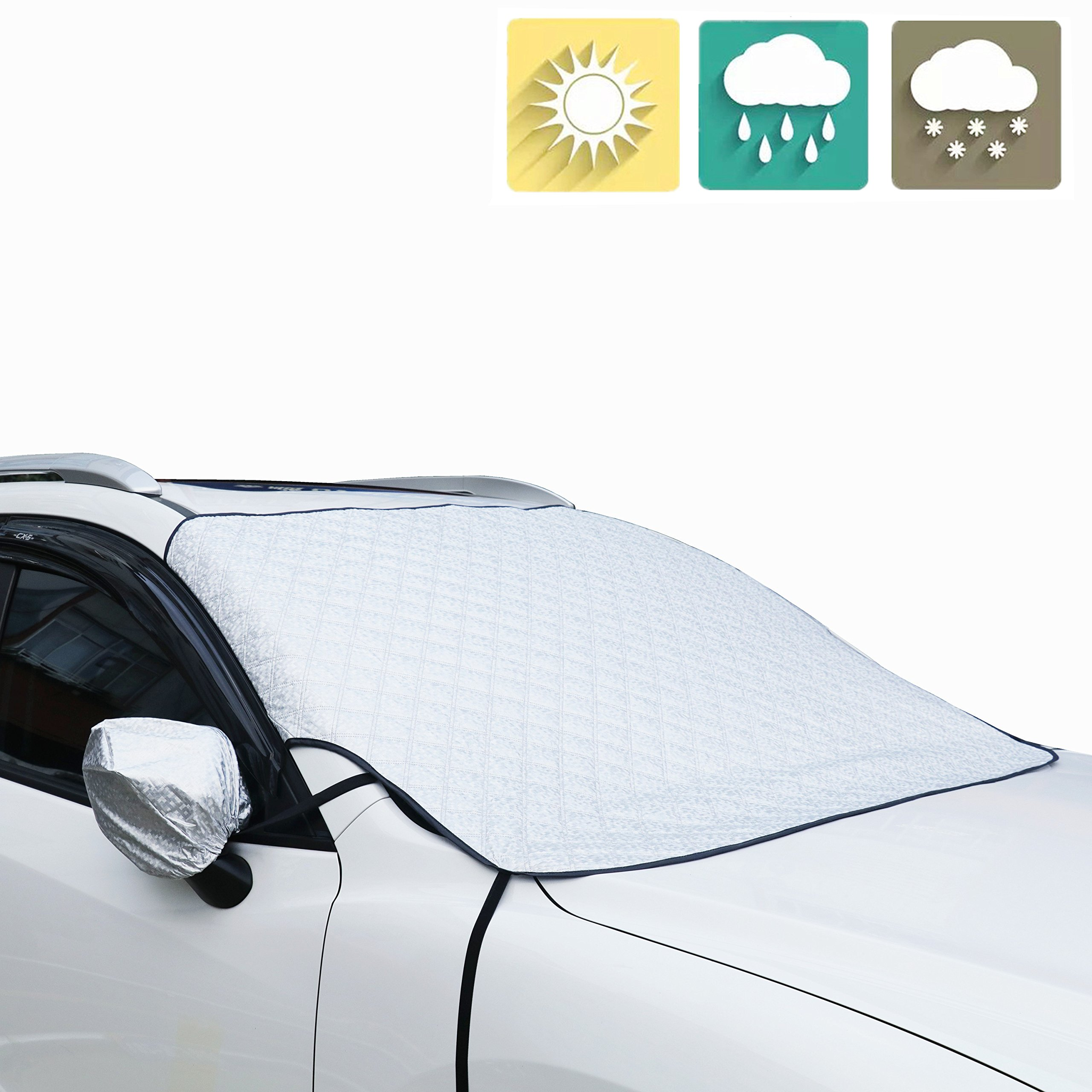 Liobaba Car Windshield Sunshades Cover Casual Foldable Front Rear Sun Reflective Shade