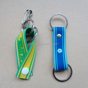 Colorful and popular embossed logo silicone strap with metal double ring holder the coin