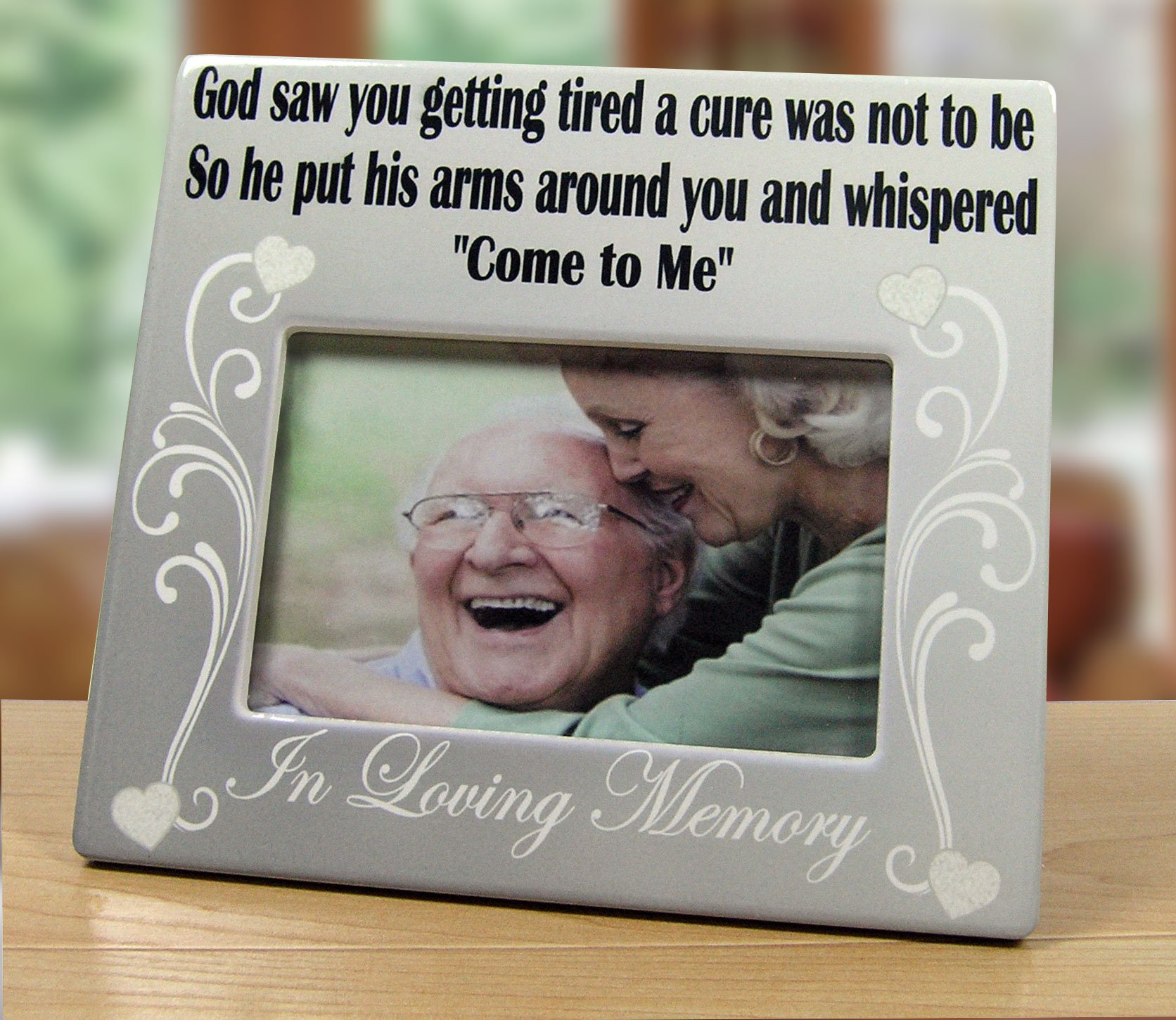 Banberry Designs Memorial Frame - in Loving Memory Frame - God Saw You Getting Tired and a Cure was Not to Be - 4 x 6 Ceramic Plaque - Loss of a Loved One Gift