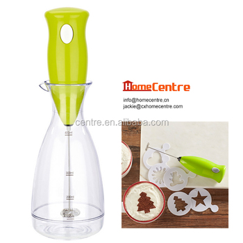 Electric Milk Frother Coffee Foam Maker With Cup Stand And Template Mf 519