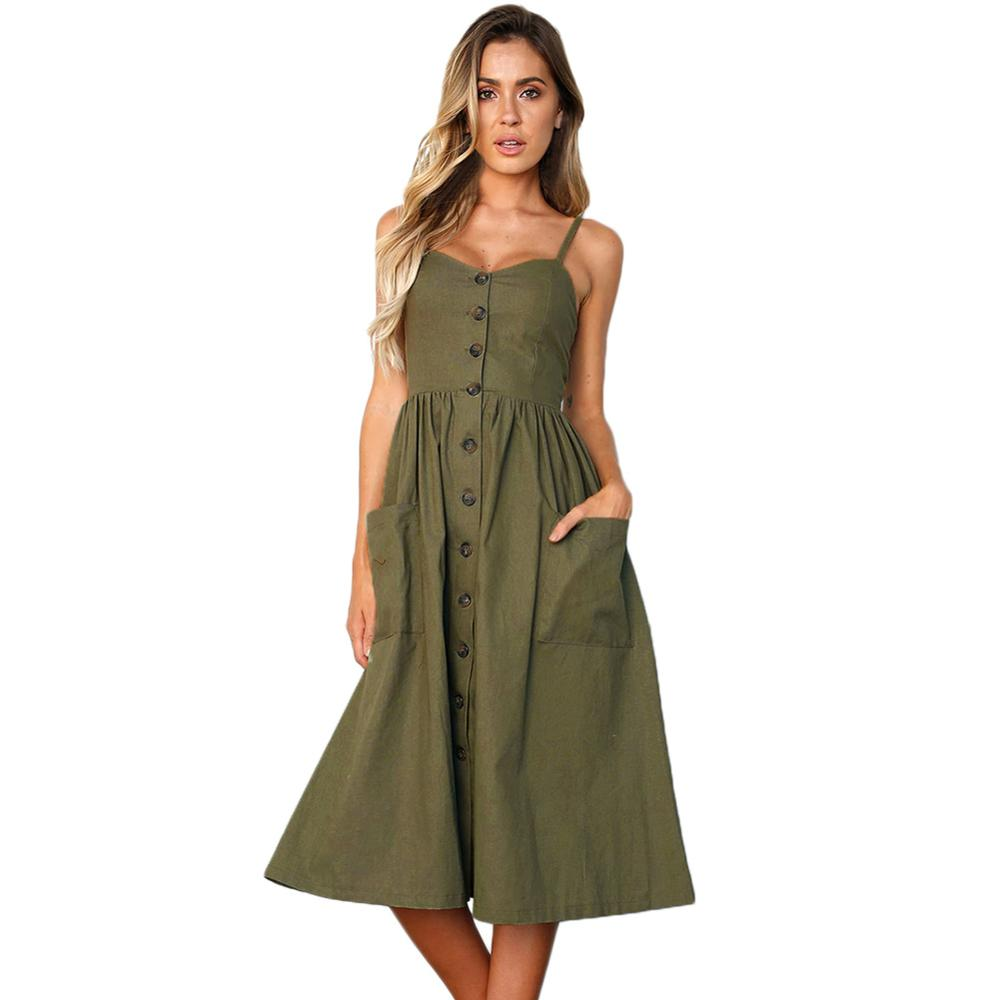 Olive Button Design Front Down Fit-and-flare Daily Wear Dress фото