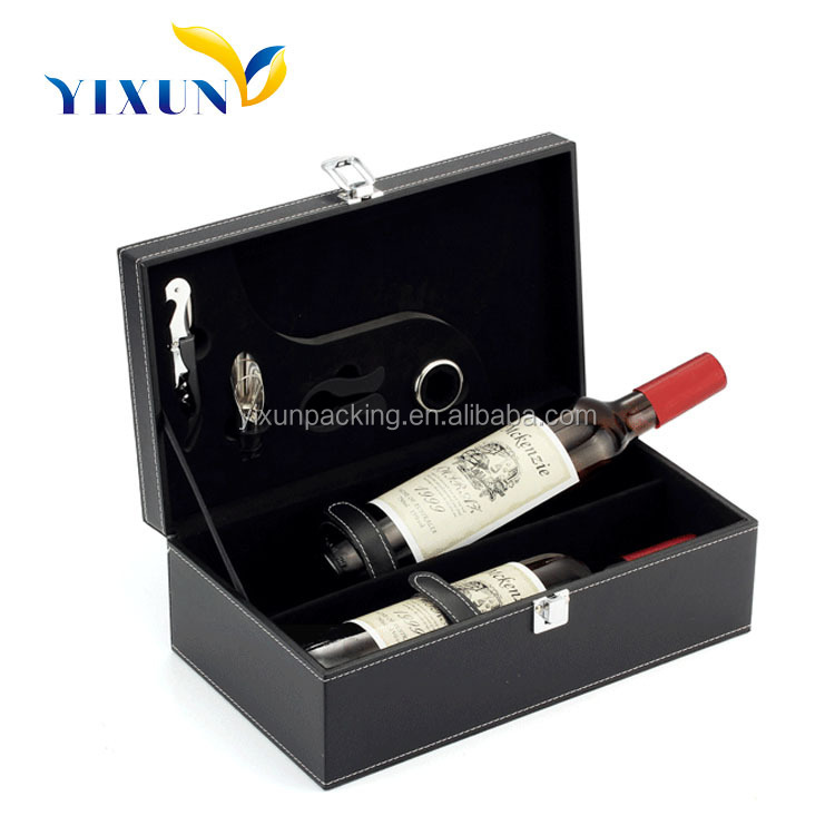 leather wine bottle box accessories carrier wooden packaging