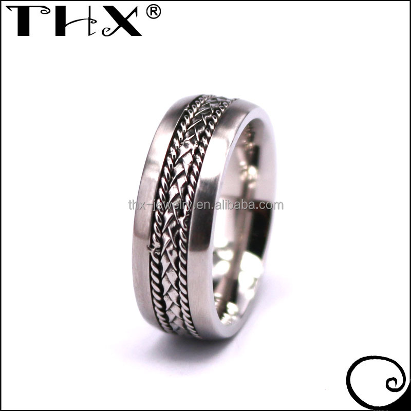 THX Jewely Custom Made 925 Silver Rope and Braided Chain Inlay Wedding Ring