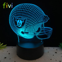 Football Cap Team Logo 3D Oakland Raiders Lamp Table NightLight 7 Color ChangeLED Desk Light Touch Multicolored USB Power Lamp