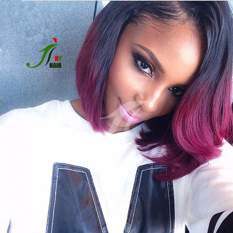 100 Human Ombre Hair Extension Sew In Brazilian Hair Weave 1b Red
