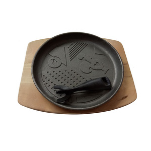 Wood Tray Hot Selling Non-stick Fajita Sizzler Steak Cast Iron Sizzling Plate