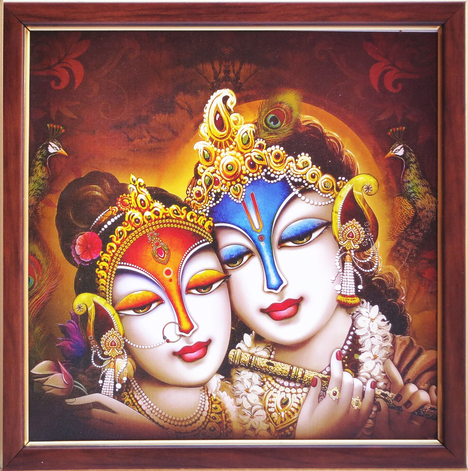 Elegant Religious & Traditional Poster of Radha Krishna Playing with Flute, a Decorative Poster with Framing Must for Religious & Gift Purpose