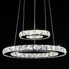Wonderland Modern LED 1-4 Rings Luxury Stainless Steel Crystal Pendant Light CE Lamp Creative Office Hotel Home Living Room