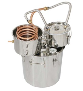 18L Alcohol Moonshine Copper Still Water Distiller Stainless Boiler+Thumper Keg