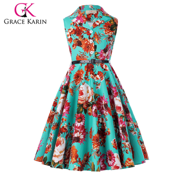 ef4b1c7cbc6a Grace Karin Kids Retro Vintage Dress Sleeveless Lapel Collar Children Party Dress  Girls Summer Dress CL009000
