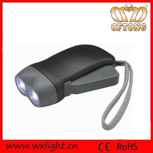 2 Led Dynamo Torch No Battery Cranking Flashlight