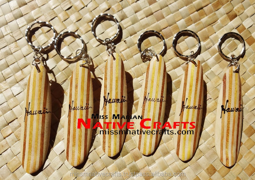 Hawaiian Surfboard Wooden Keychains, Hawaiian Keyholder, Longboard and Shortboard