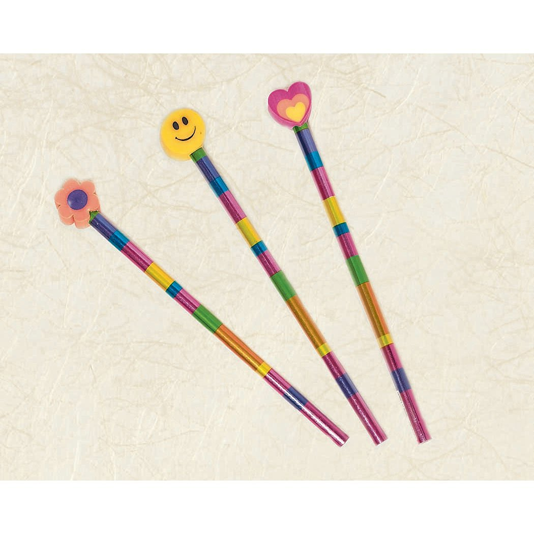 pencil w/topper assorted groovy