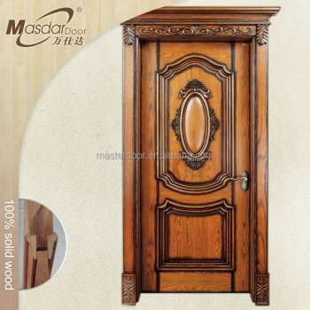 Kerala style teak wood single main door flower designs for Simple main door design