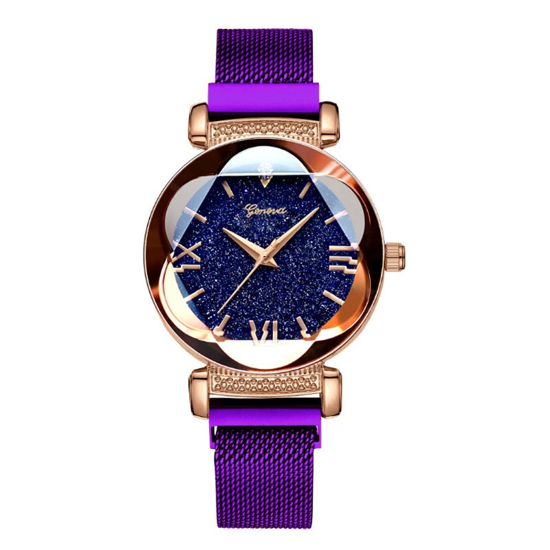 Luxury Gold Watches Women New Fashion Starry Sky Wristwatches Mesh Magnetic Strap Quartz Watches Montre Femme