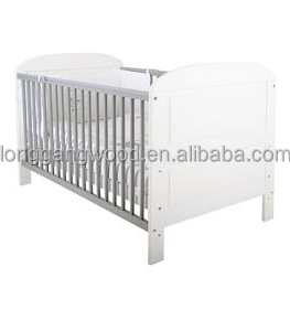 High quality modern design comfortable cheapest KD solid pine natural solid wooden baby cot/baby sleigh cot crib / baby bed