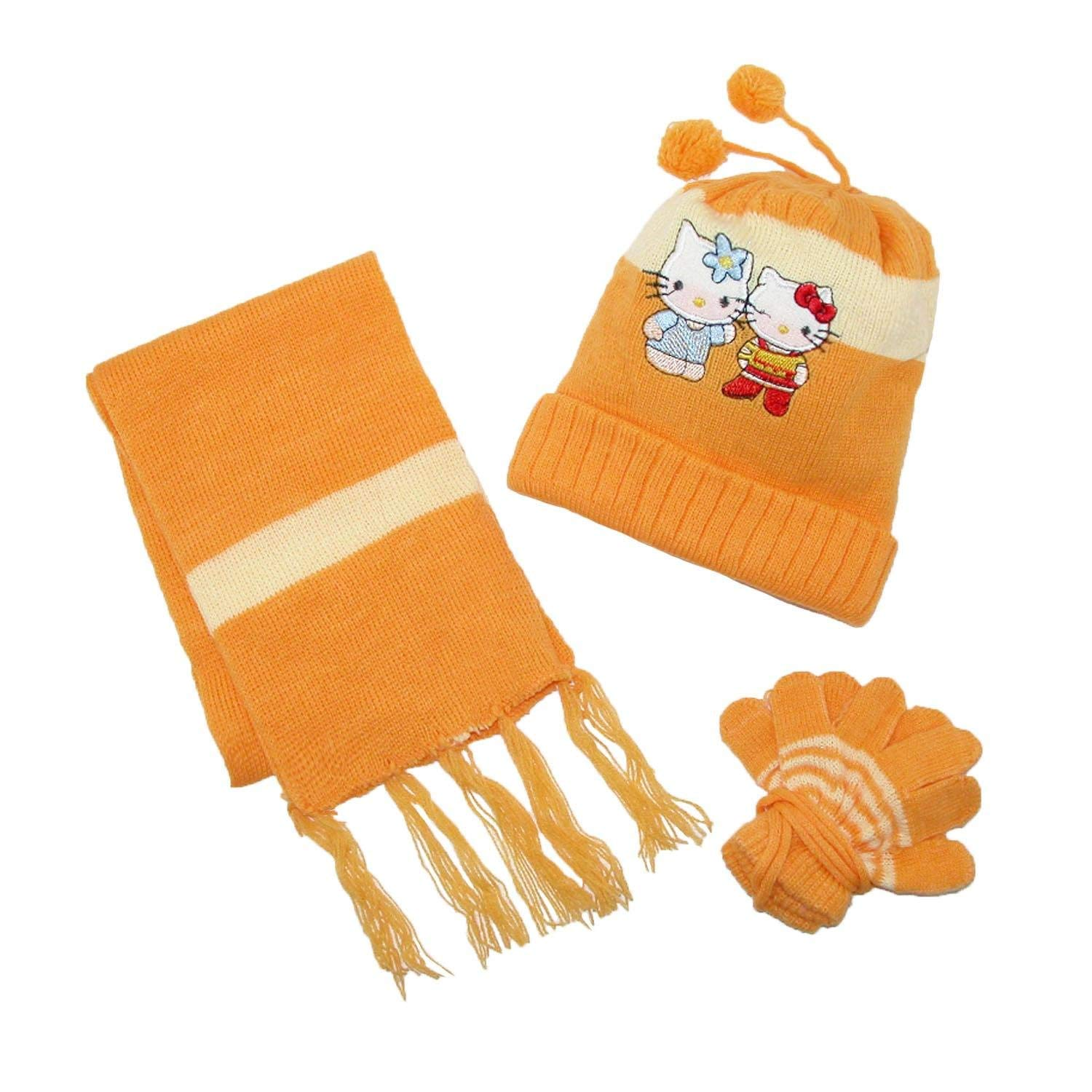 1f310ae54 Get Quotations · CTM Kids' Hello Kitty Hat Scarf and Gloves on a String  Winter Set