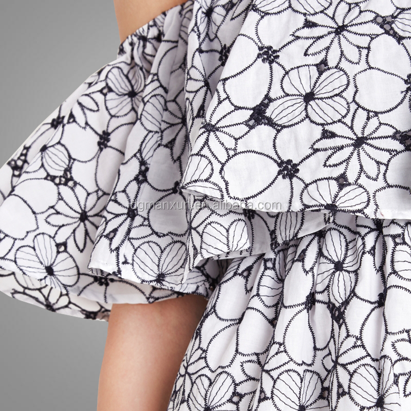 Newest style gorgeous floral beautiful sexy girls skirt off shoulder dress