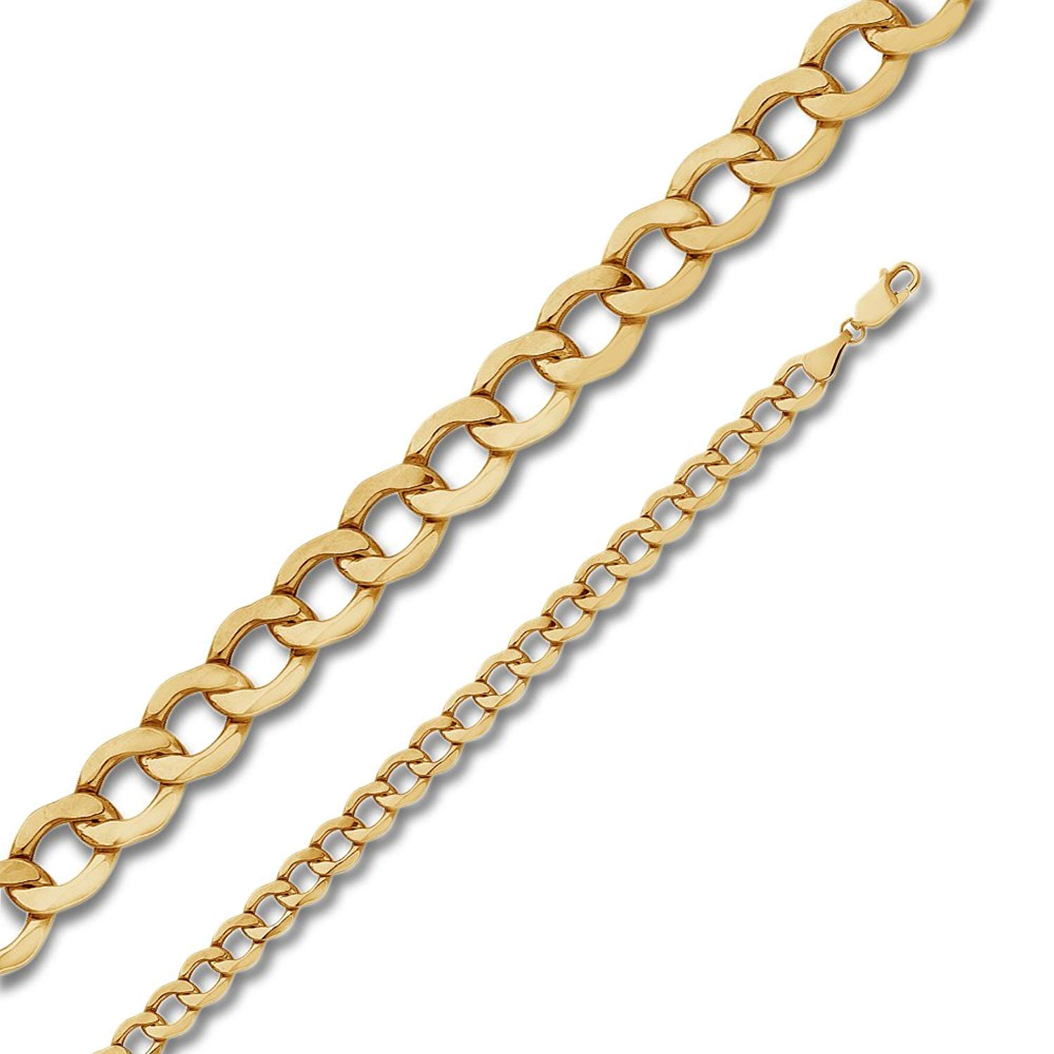 Jewel Tie 14K Yellow Gold 6.5mm Hollow Cuban Concaved Curb Necklace Chain