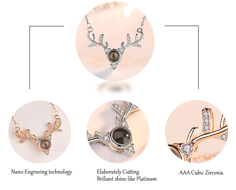 Latest New Design S925  AAA Cubic Zirconia Diamond Sliver Necklace with Projected Stone