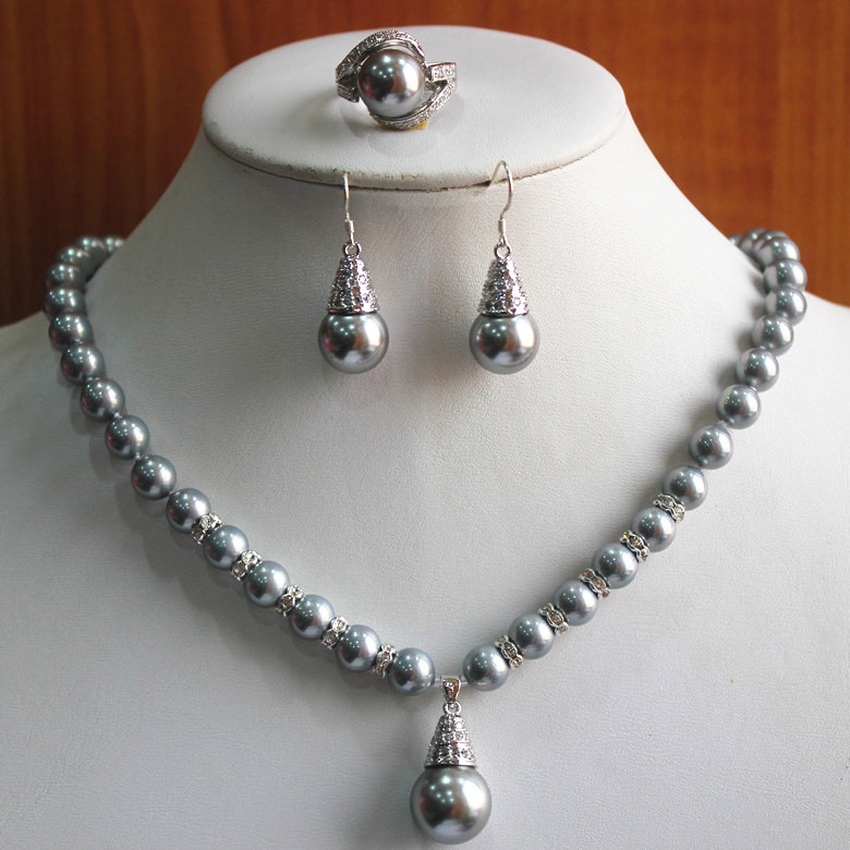 Cheap Pearl Necklace Sets: Birthday Gift! Jewelry Set!Wholesale Women's 8mm Gray