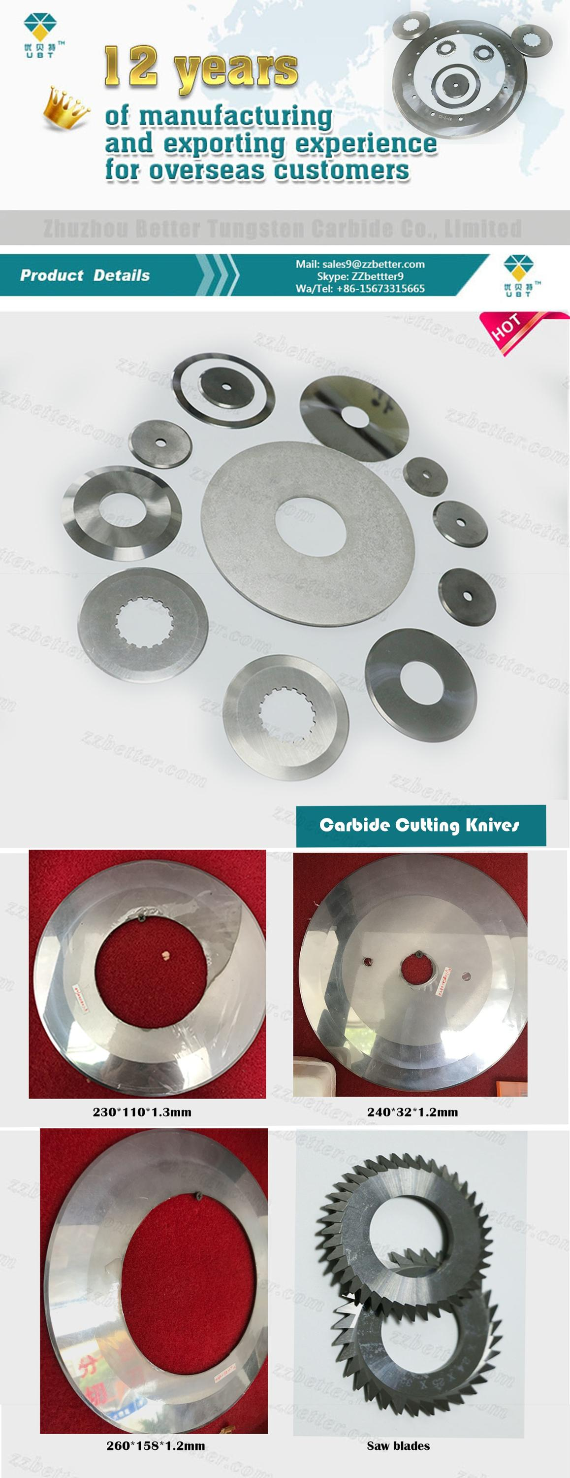 Tungsten carbide Plastic Cutting Knives and Blades