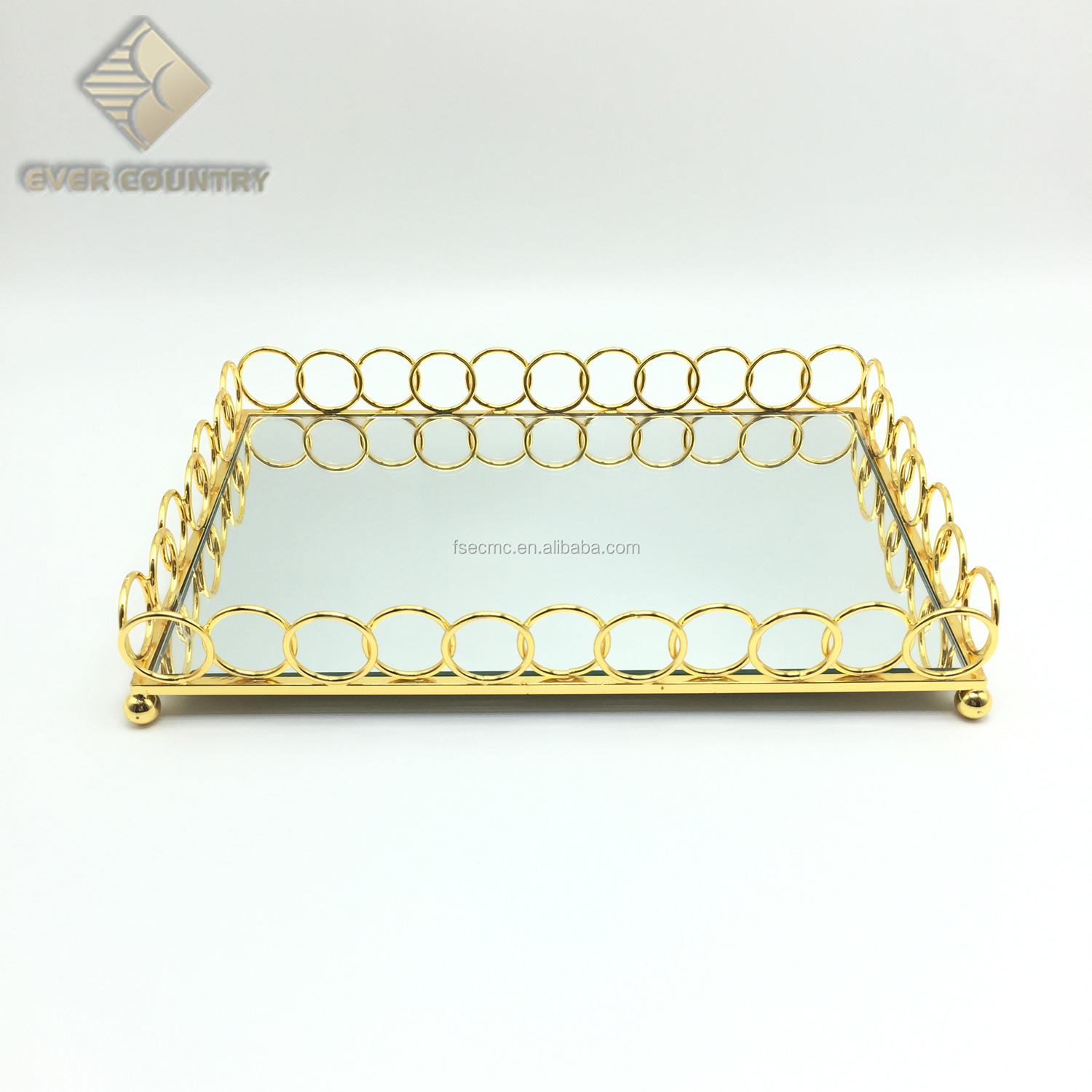 12 Inch rectangular gold metal glass mirror serving tray for wedding serving