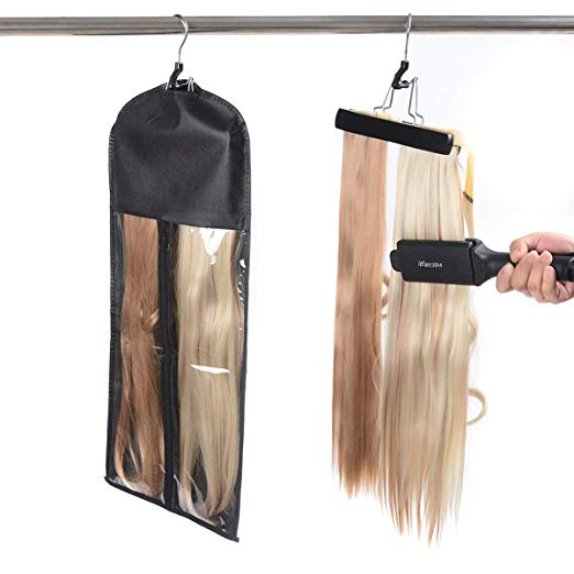 Good quality hair extensions wig black or pink pvc packaging bag with hanger