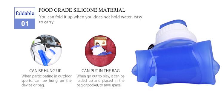 Großhandel Silikon Faltbare Pastell Blau Umwelt Freundliche Wasser Flasche