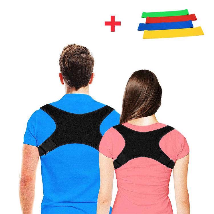 Shoulder support back posture corrective brace back support band belt posture corrector for man and woman, Black