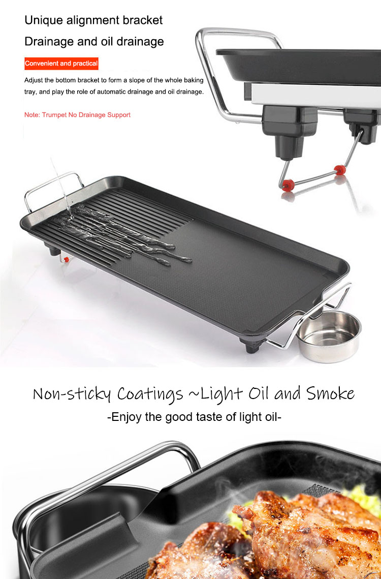 European Standard 220V Smoke-free and Non-stick Coating Electric Barbecue Grill Pan