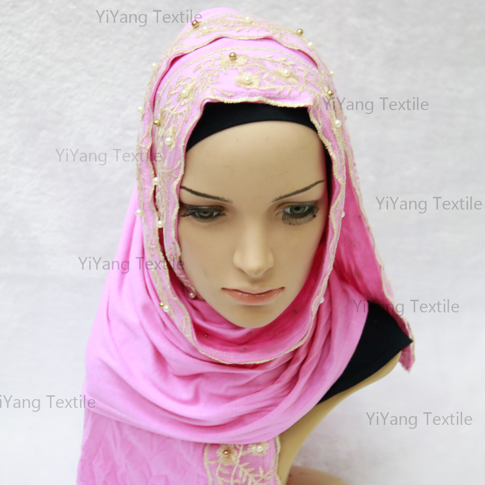 Wholesale Islamic Beaded Fashion Lace Hijab Muslim Bridal Wedding scarves