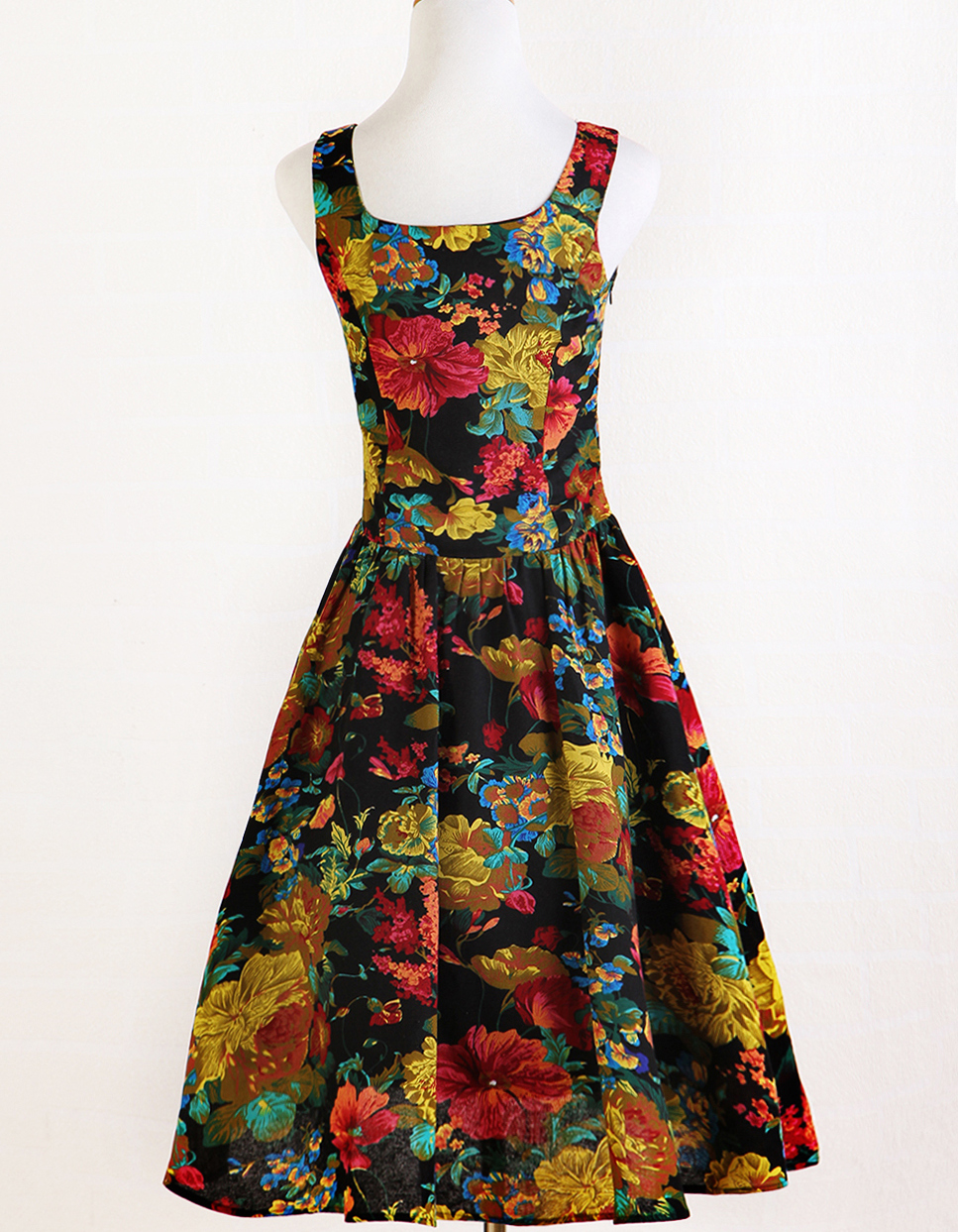 2017 spring New design <strong>vintage</strong> flower print american style women <strong>dress</strong>