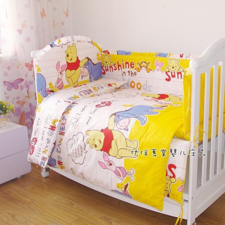 Promotion 7pcs 100 Cotton Newborn Bebe Baby Crib Bedding Sets Bumper Quilt Bed Around bumper duvet