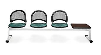 OFM 334T-VAM-602-MH Moon 4-Unit Beam Seating with 3 Vinyl Seats and 1 Table, Teal Seat Cover